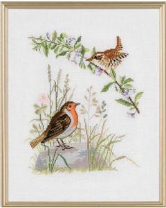 Eva Rosenstand borduurpakket 2 vogels 12-734 borduren op linnen