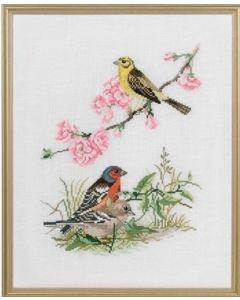 Eva Rosenstand borduurpakket 3 vogels 12-735 borduren op linnen