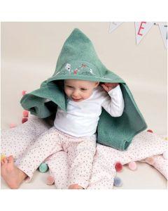Rico Design baby cape met aida rand op capuchon om te borduren donker roze 740272.65