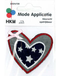 Applicatie hart met roze strikje