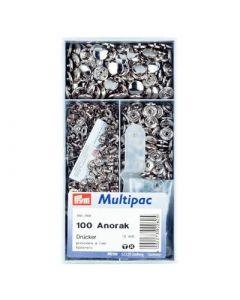 Prym anorak vernietbare drukknopen - 15mm zilver 100 stuks