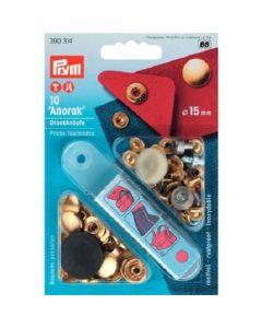 Prym anorak vernietbare drukknopen - 15mm goud 10 stuks