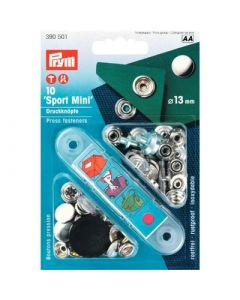 Prym vernietbare drukknopen Anorak sport mini - 13 mm zilver 10 stuks