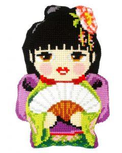 Borduurpakket kussenpakket Japanse Girl  orchidea 9317