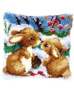 Knoopkussen pakket konijntjes in de sneeuw van Vervaco pn-0147711