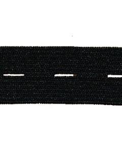 Knoopsgatenelastiek zwart, 20mm-30mm