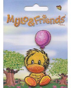 Mylo & Friends zittend kuiken met roze balon applicatie.