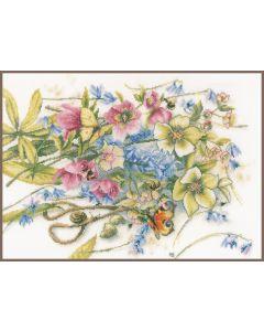 Lanarte borduurpakket helleborus met vlinders pn-0186136 van Marjolein Bastin borduren