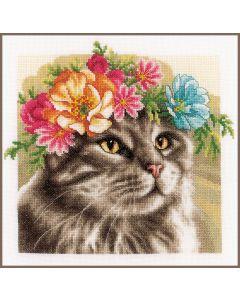 Lanarte borduurpakket kat Main Coon met bloemenkrans pn-0189339