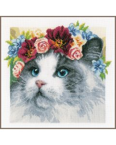 Lanarte borduurpakket kat Ragdoll met bloemenkrans pn-0189340