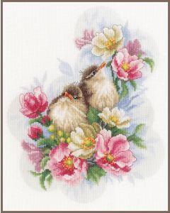 Lanarte borduurpakket kleine vogeltjes op bloementak pn-0185003 borduren