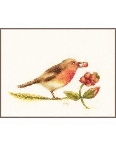 Lanarte borduurpakket roodborst pn-0188024 van Marjolein Bastin borduren
