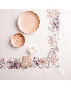 Voorbedrukt tafelkleed Lentebloemen om te borduren 90x90cm  Rico design 67394.52.21