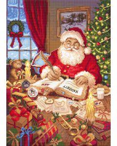 Letistitch borduurpakket kerstman met grote boek leti 951.
