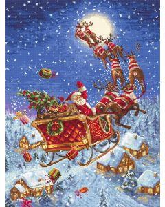 Borduurpakket kerstman met de arreslee  leti 958