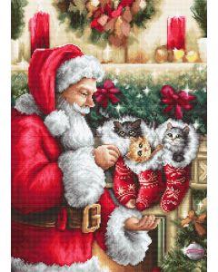 Luca-s borduurpakket kerstman met kerstsokken om te borduren b602