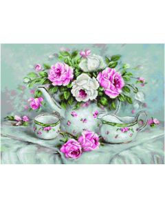 Luca-s borduurpakket Morning tea and roses om te borduren ba2320