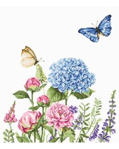 Luca-s Borduurpakket Summer Flowers and Butterflies  - bloemen en vlinders om te borduren ba2360