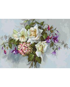 Luca-s borduurpakket boeket witte rozen om te borduren ba2363