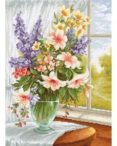 Luca-s Borduurpakket Flowers at the Window  - bloemen voor het raam om te borduren bu4016