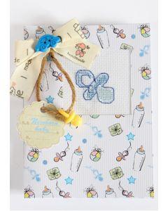 Borduurpakketje geboorte kaart  baby boy met telpatroon Luca-s