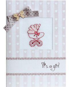 Borduurpakketje geboorte kaart  baby meisje met telpatroon Luca-s