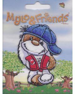 Mylo & Friends met blauwe pet applicatie.