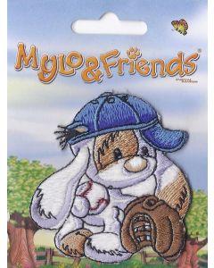 Mylo & Friends zittend met blauwe pet applicatie