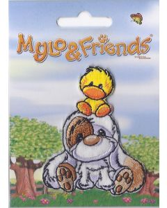 Mylo & Friends zittend met een kuikentje op hoofd applicatie