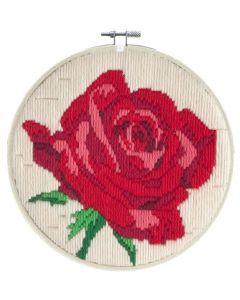 Borduurpakket platsteek rode roos incl borduurring van Needleart World LST3.005