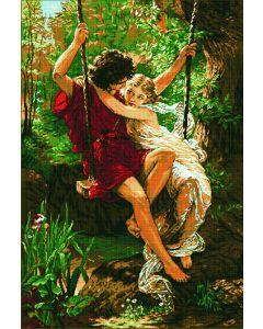 Voorbedrukt borduurpakket lovers on a swing op aida Needleart World 1040.017