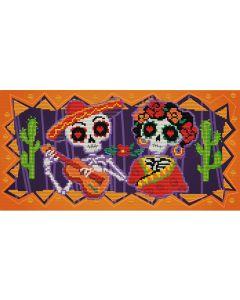 Voorbedrukt borduurpakket day of the dead op aida Needleart World 250.004