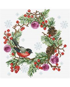 Voorbedrukt borduurpakket kerstkrans op aida Needleart World 340.039