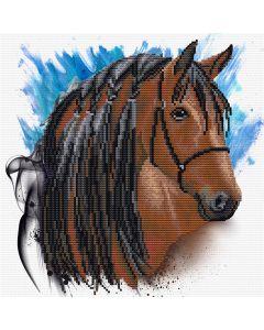 Voorbedrukt borduurpakket stallion groom op aida Needleart World 450.039