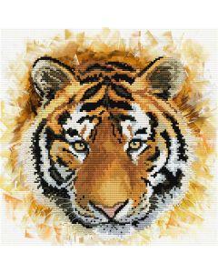 Voorbedrukt borduurpakket tijger op aida Needleart World 450.041