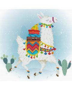 Voorbedrukt borduurpakket lama op aida Needleart World 450.043