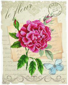 Voorbedrukt borduurpakket roze bloem op aida Needleart World 650.028