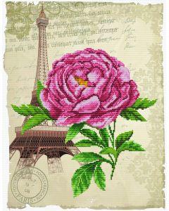 Voorbedrukt borduurpakket op Aida Romantische roos  Needleart World 650.029