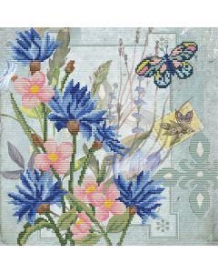 Voorbedrukt borduurpakket korenbloem veld op aida Needleart World 650.030
