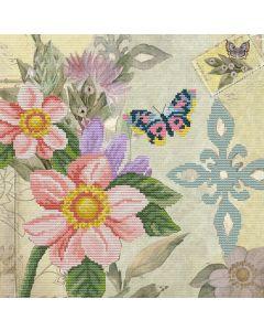 Voorbedrukt borduurpakket vlindertuin op aida Needleart World 650.033
