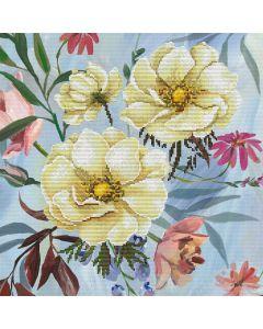 Voorbedrukt borduurpakket wilde roos pakket op aida Needleart World 650.034