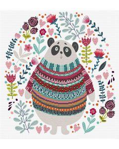 Voorbedrukt borduurpakket panda couture op aida Needleart World 650.036