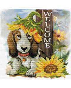 Voorbedrukt borduurpakket zonnebloem hond op aida Needleart World 650.037
