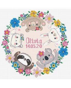 Voorbedrukt borduurpakket sweet baby birth sampler op aida Needleart World 650.038