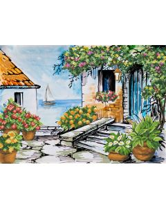 Voorbedrukt borduurpakket seaside paradise op aida Needleart World 650.039