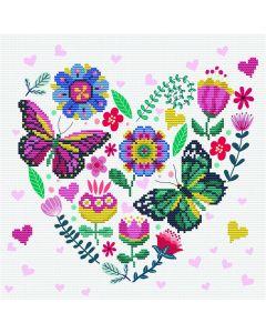 Voorbedrukt borduurpakket liefdestuin op aida Needleart World 650.042