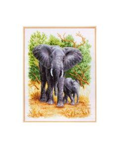 Borduurpakket olifantenfamilie telwerk op linnen van Vervaco