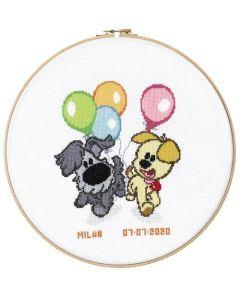 Pako borduurpakket Woezel en Pip geboorte met ballonnen 271.052