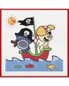 Pako borduurpakket Woezel en Pip op avontuur met het piratenschip 271.001