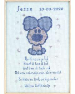 Pako borduurpakket Woezel & Pip geboortetegel woezel borduren 271.042